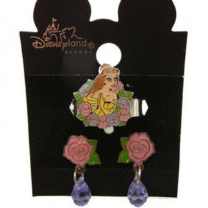 Disney Belle earring ring set 2 pc NWT carded